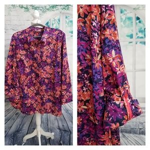 NWOT- Catherine's Colorful Floral Blouse, Size 1X